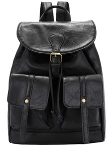 Black Buckle Drawstring PU Backpack