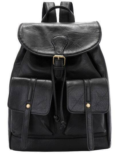 Black Buckle Drawstring PU Backpack