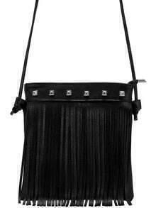 Black Rivet Tassel PU Satchel Bag