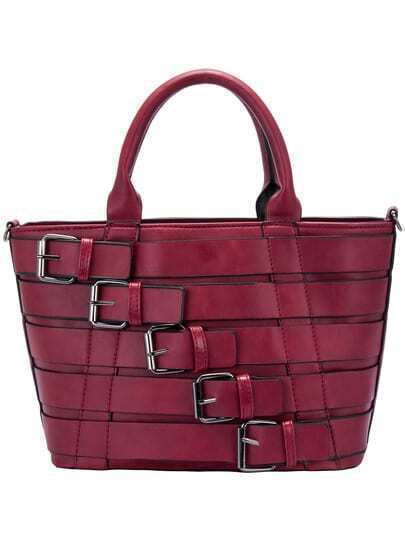 Burgundy Leather Buckle PU Tote Bag