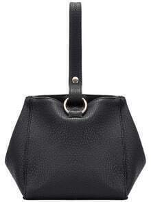 Black Simple PU Satchel Bag
