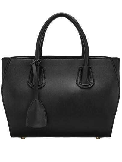 Black Simple PU Tote Bag