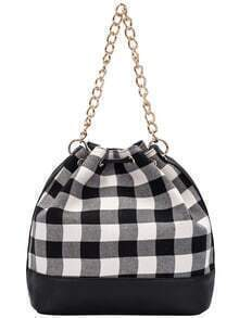 Black White Drawstring Random Plaid Chain Shoulder Bag