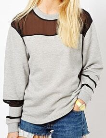 Women Grey Mesh Insert Casual Sweatshirt