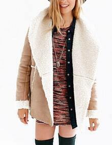 Shawl Collar With Faux Shearling Lined Suede Coat