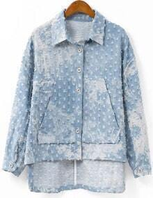 Denim Pocket Dip Hem Frayed Coat