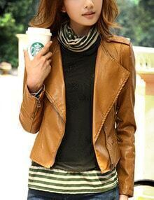 Women Brown PU Leather Lapel Moto Jacket