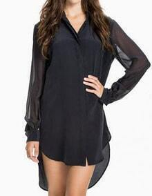 Women Black Chiffon Dip Hem Shirt