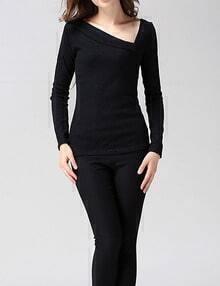 Women Black Oblique Shoulder Ribbed Sweater