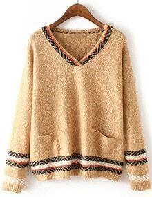Women Khaki Pocket Aztec Striped Sweater