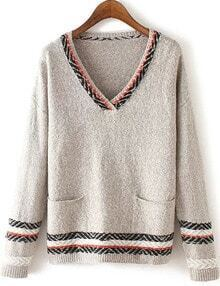 Women Grey Pocket Aztec Striped Sweater