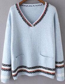 Women Sky Blue Pocket Aztec Striped Sweater