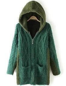 Women Green Pocket Zipper Hooded Coat