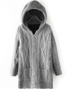 Women Grey Pocket Zipper Hooded Coat