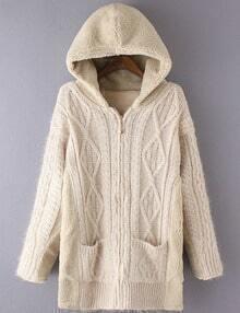 Women Beige Pocket Zipper Hooded Coat