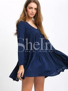 Navy V Neck Long Sleeve Pleated Dress