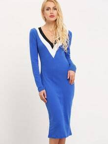 Blue Long Sleeve Sheath Dress