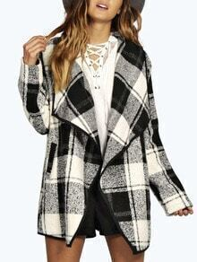 Color-block Lapel Checkered Coat