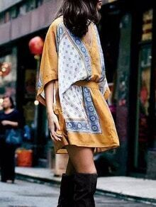 Yellow V Neck Hippie Kimono Dress