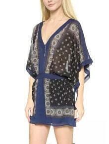 Blue V Neck Hippie Kimono Dress