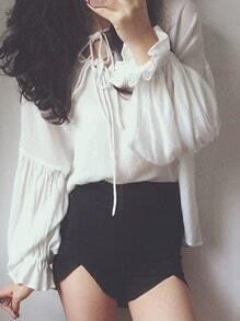 White Puff Sleeve Drawstring Neckline Shirt