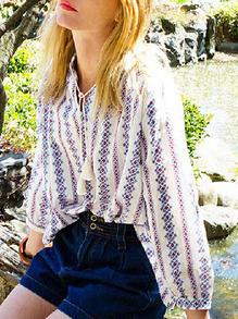 Floral Print Drawstring Retro Shirt