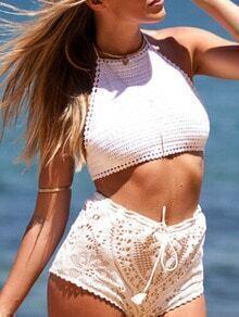White Halter Crochet Cami Top