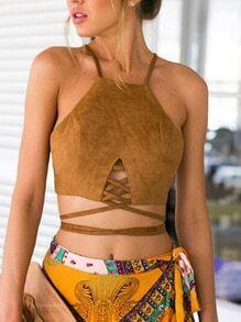 Camel Slip Lace Up Zipper Back Cami Top