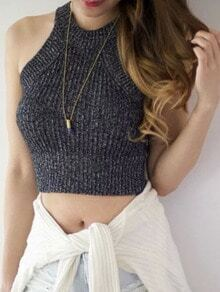 Grey Mock Neck Ribbed Strechy Cami Top