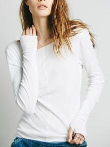 White Boat Neck Slim Sweater