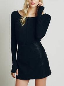 Black Boat Neck Slim Sweater