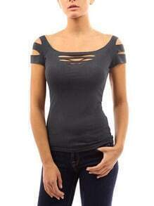 Grey Tshirt With Hollow Out Front And Shoulder