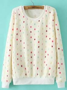 Colour Round Neck Polka Dot Loose Sweatshirt