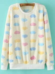 Colour Round Neck Hearts Print Loose Sweatshirt