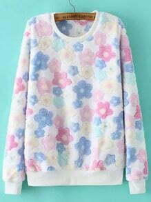 Colour Round Neck Floral Loose Sweatshirt