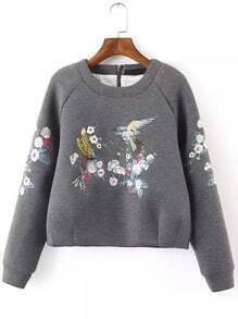 Grey Round Neck Bird Embroidered Crop Sweatshirt