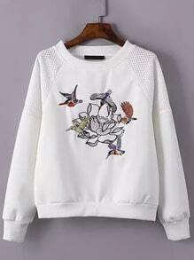 White Round Neck Bird Embroidered Grid Sweatshirt