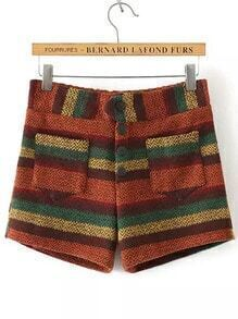 Colour Buttons Striped Woolen Shorts