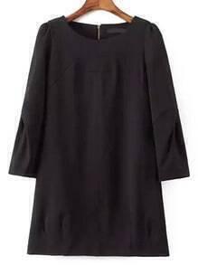 Black Round Neck Zipper Loose Dress