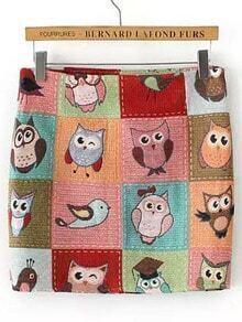Colour Cartoon Owl Print Skirt