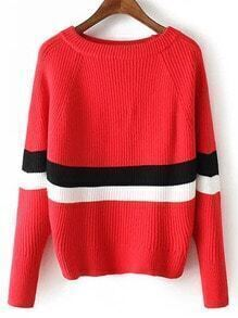 Red Round Neck Striped Crop Sweater