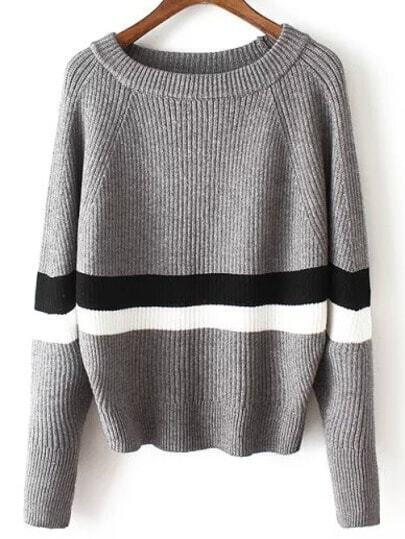 Grey Round Neck Striped Crop Sweater