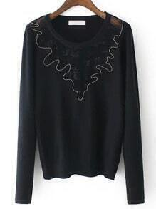 Black Round Neck Sheer Mesh Crop Knitwear
