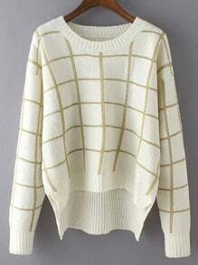 White Round Neck Plaid Crop Sweater