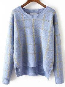 Blue Round Neck Plaid Crop Sweater