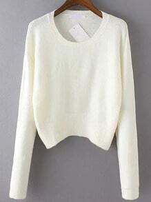 White Round Neck Long Sleeve Crop Knitwear