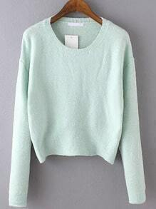 Green Round Neck Long Sleeve Crop Knitwear