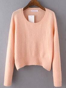 Pink Round Neck Long Sleeve Crop Knitwear