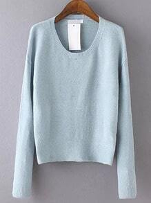 Blue Round Neck Long Sleeve Crop Knitwear