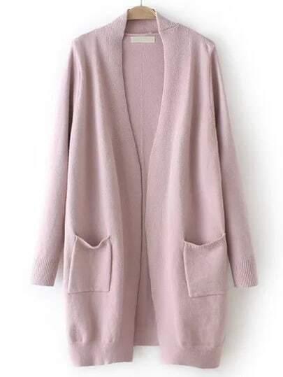 Pink Long Sleeve Pockets Loose Cardigan